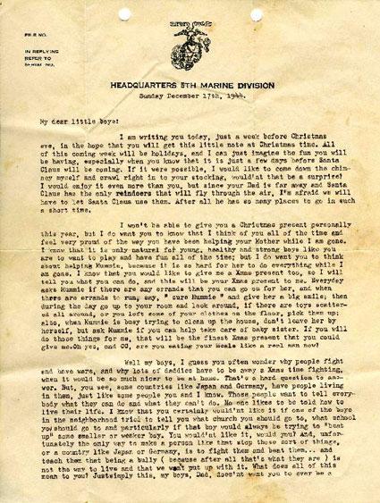Letter Written in December 1944 by Marine 1st Lt. Leonard Isacks, Jr.