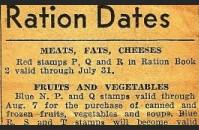 Ration schedule in the newspaper
