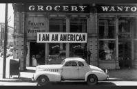 Dorothea Lange, photo of a closed store owned by a Japanese American man.